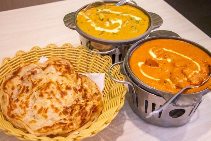 A trio of prata, butter chicken and Vegetable Kurma from Gokul Vegetarian Restaurant.