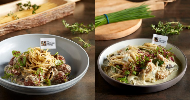 """Collage of """"Meatballs"""" truffle pasta & Green Curry """"Chicken"""" Pasta"""