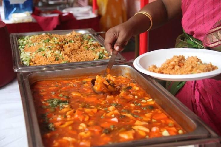 A buffet of indian food served at Annalakshmi