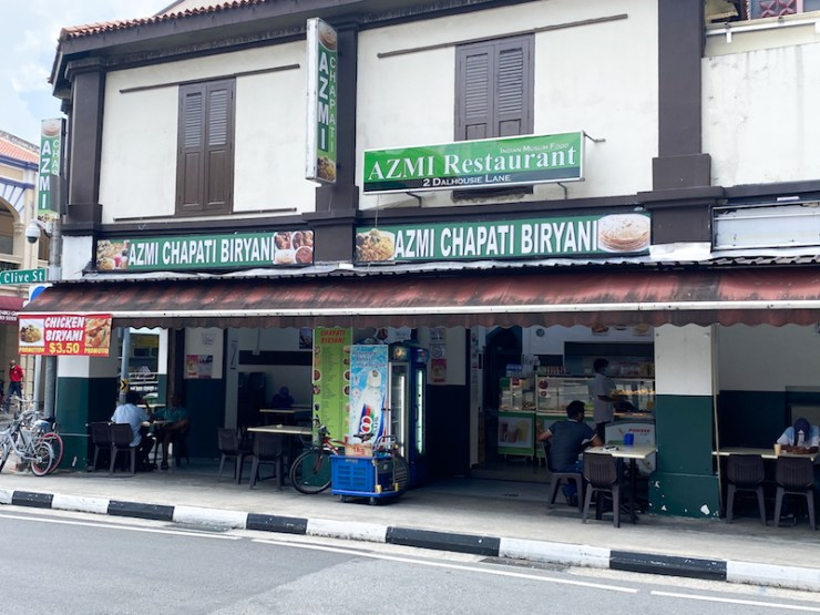 Exterior of indian food hawker stall, Azmi Restaurant