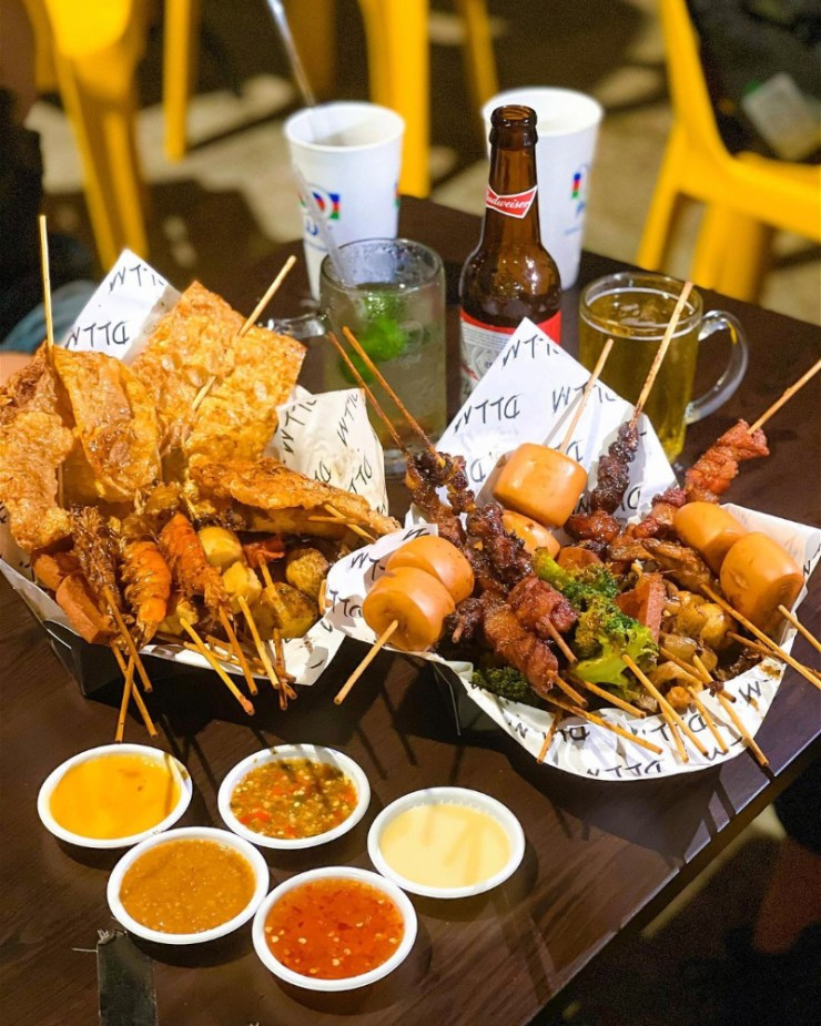 Malaysian Style Lok Lok Skewers with sauces and drinks
