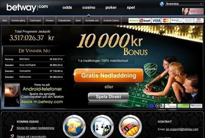 Spela med Betway casino bonus idag