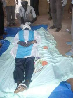 Reverend Simon Kwajie body laid at his church in Yei, he was badly tortured and killed by government soldiers and security personals after he was picked up from his house in Yei(Photo: file)