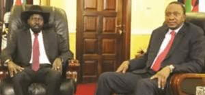 South Sudan's Salva Kiir meets Kenyan President Uhuru Kenyatta in Juba(Photo: file)