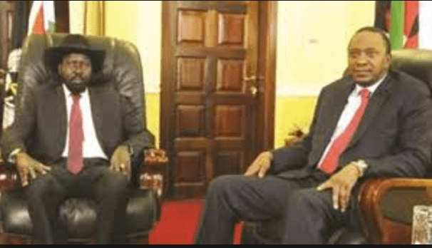 South Sudan's Salva Kiir meets Kenyan President Uhuru Kenyatta in Juba(Photo: file)