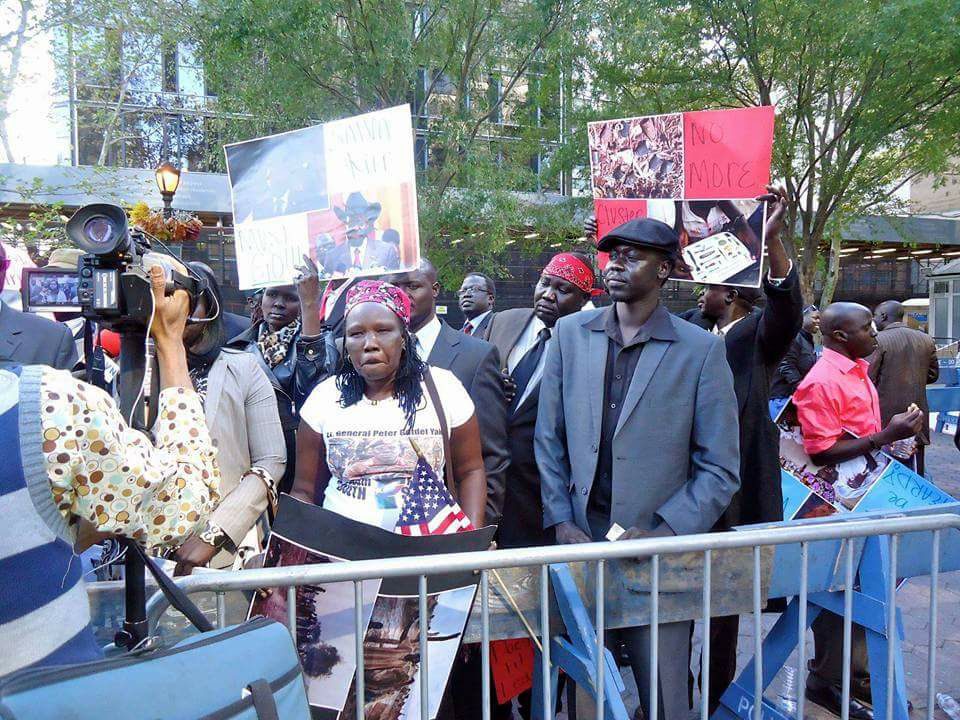 South Sudanese protesting in Manhattan, New York, USA in December 2017(Photo credit: supplied)
