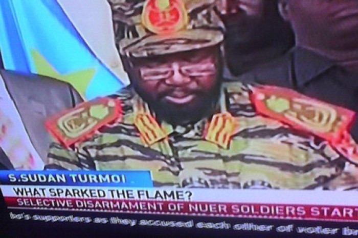 Gen. Salva Kiir speaking on television addressing in his military uniform of the tiger division(Photo credit: file)
