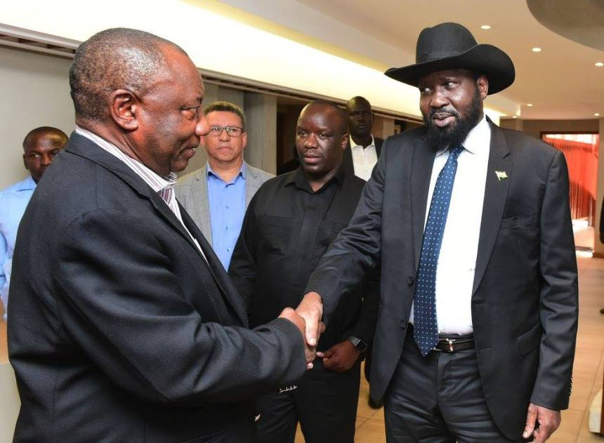 President Kiir who is on a working visit to South Africa received Deputy President Ramaphosa, South Africa's Special Envoy to South Sudan in Pretoria. President Kiir briefed Deputy President on the political and security situation in South Sudan., 21/01/2018(Photo credit: Kopano Tlape GCIS)
