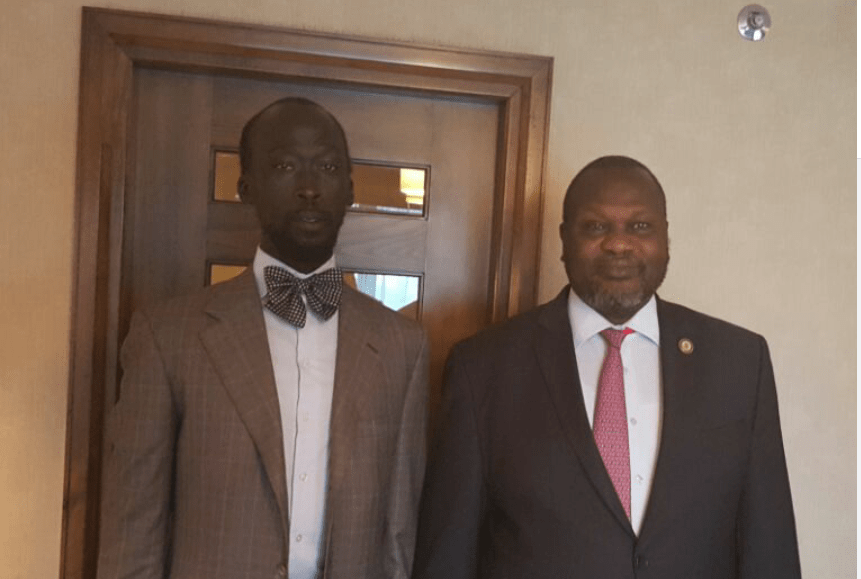 Mabior Garang de Mabior and Dr. Riek Machar Teny posts for a picture after a meeting to discuss their return to Juba in March 2016(Photo: file)