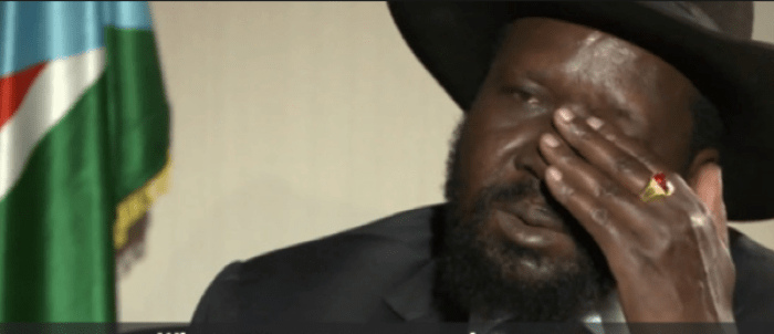 President Kiir wipe off sweat with his hand during an interview with BBC HardTalk in Juba(Photo: file)
