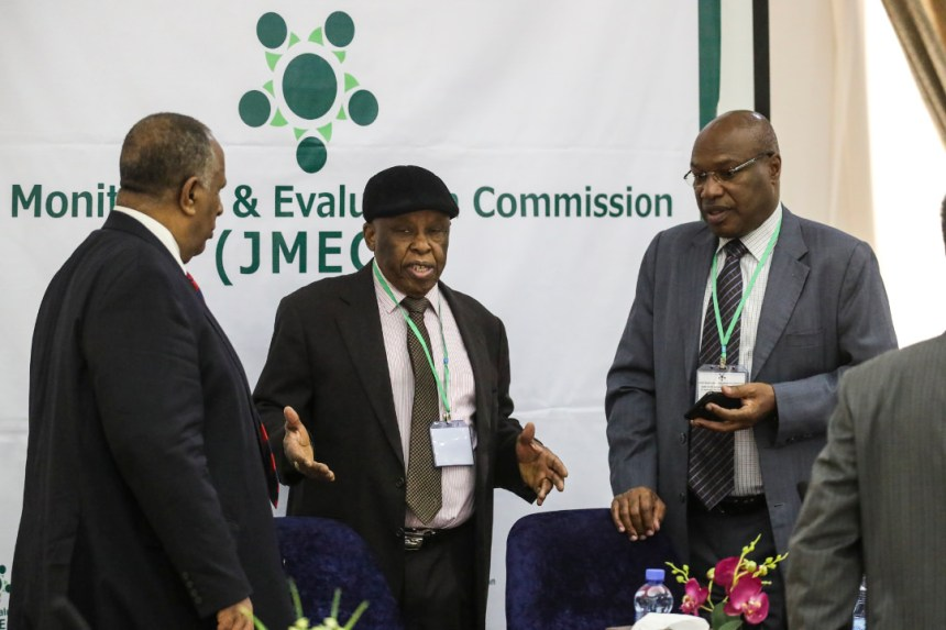 """The Joint Monitoring and Evaluation Commission (JMEC) is meeting with six working committee formed within JMEC to review the progress of the implementation of the South Sudan peace agreement.   The committees on governance, security, humanitarian, economic, transitional justice and constitutional affairs are looking at the progress and setbacks of implementation since the agreement was signed in 2015.   JMEC Chairperson Festus Mogae says the reports forwarded by the committees will inform the planned revitalization forum.  """"These findings will form a basis for JMEC's report to IGAD on the status of the implementation of the peace agreement, which report will be instrumental to the success of the revitalization process, he stresses.  UN Photo: Isaac Billy"""