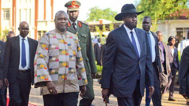 President Kiir, SPLM-IO leader Dr. Riek Machar, walks inside the Presidential Palace in Juba on April 26 2016. (File/Supplied/Nyamilepedia)