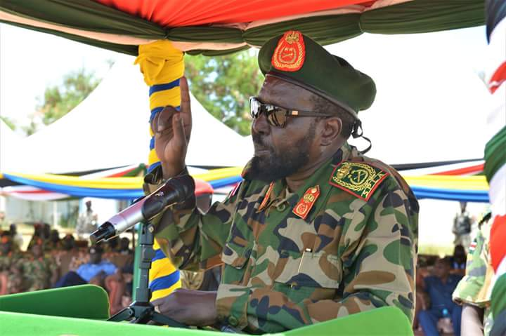 South Sudan President speaking to the army at Bilpam, SPLA General Headquarters (File/Supplied/Nyamilepedia)