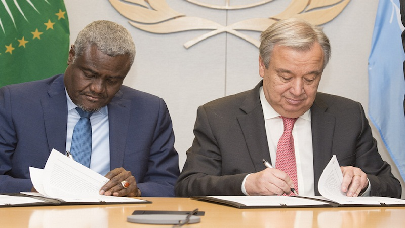 UN Secretary-General Antonio Guterres and H.E. Mr. Moussa Faki Mahamat, Chairperson, African Union Commission Signing of Joint UN-AU Framework for Enhancing Partnership on Peace and Security (File/Supplied/Nyamilepedia)