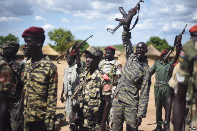 Rebel forces in an unidentified place in northern Bahr Al-Ghazal (File/Supplied/Nyamilepedia)