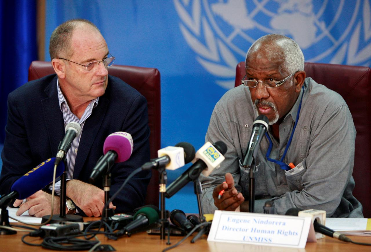 David Shearer (L), head of the United Nations Mission in South Sudan (UNMISS), and UNMISS's Human Rights Director, Eugene Nindorera address a news conference in Juba, South Sudan February 22, 2018. REUTERS/Jok Solomun