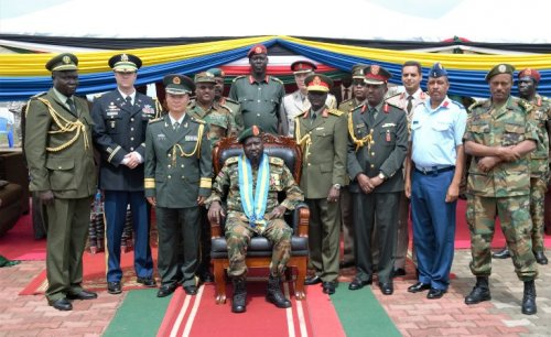President Kiir being awarded 7 medals by his military generals in a mini ceremony that has invited the Chinese and other friendly foreign nations(Photo credit: supplied)