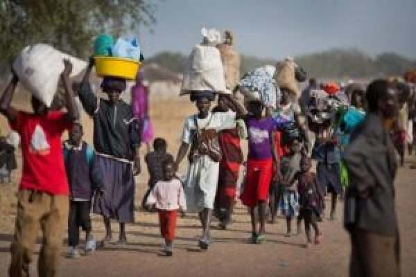 South Sudanese mostly women fleeing war-tornSouth Sudan to an unidentified location (photo credit: supplied).
