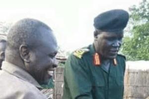 SPLA-IO commander of sector one Gen. Johnson Olony and SPLM-IO Chairman Dr. Riek Machar in Pagak 2016 (File/Supplied/Nyamilepedia)