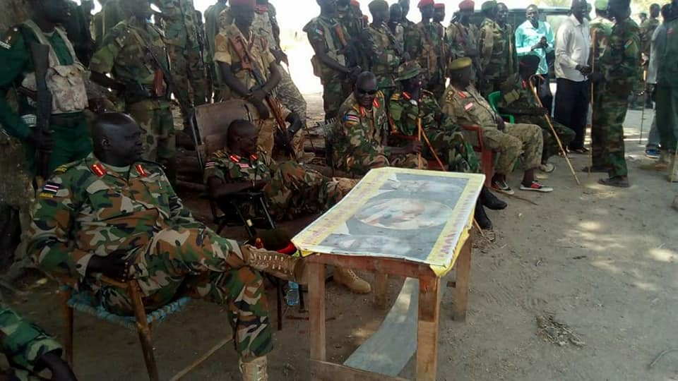 Maj. Gen. Stephen Buay Rolnyang and other senior officials from Bul-Nuer conducting meeting in Mayom, Unity State(Photo credit: supplied)