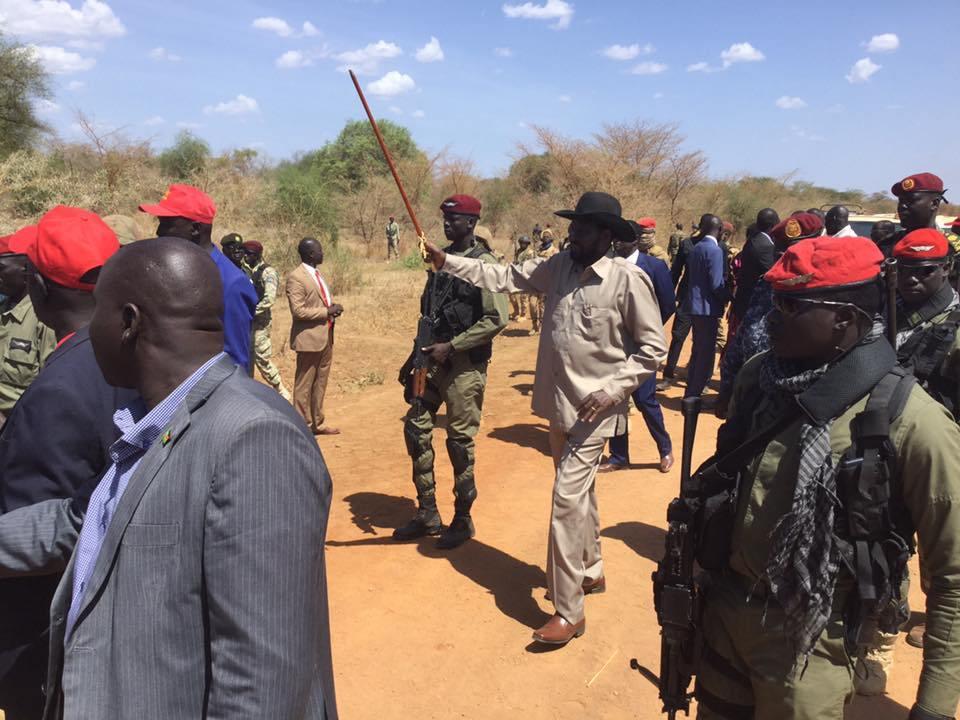 Heavily guarded South Sudan troubled President, Salva Kiir Mayardit in Awerial, Lake State, South Sudan(Photo: file)