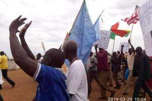 IDPs peacefully demonstratin in South Sudan in Juba (Photo credit: Nyamilepedia)