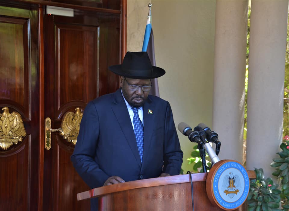 South Sudan President, Salva Kiir, delivering Easter message at the Presidential Palace in Juba (File/Supplied/Nyamilepedia)