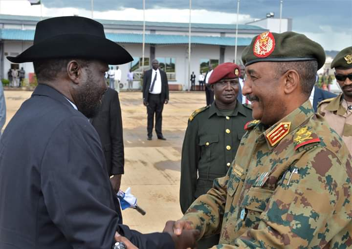 Head of Sudan's Military Council General Abdel Fatah al-Burhan greets Kiir as he arrives in Juba (File/Supplied/Nyamilepedia)