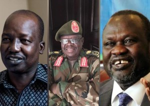 A photoshopped image showing Lt. Gen. Thomas Cirilo, late Lt. Gen. Martin Kenyi and Dr. Riek Machar, Chairman of SPLM/A(Photo credit: supplied)