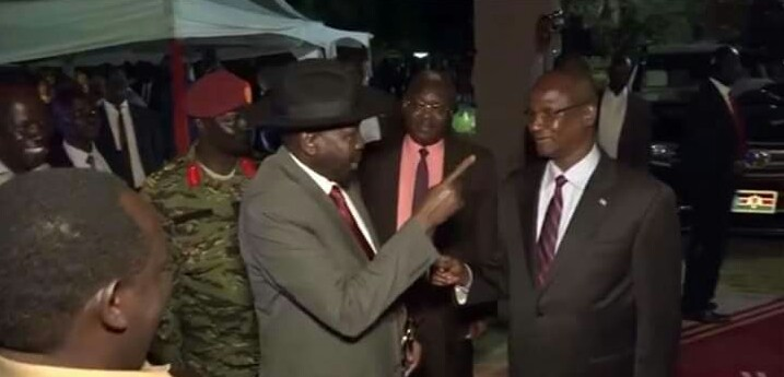 President Salva Kiir, caught on camera pointing hand aggressively at FVP Taban Deng Taban Gai in Juba (File/Supplied/Nyamilepedia)