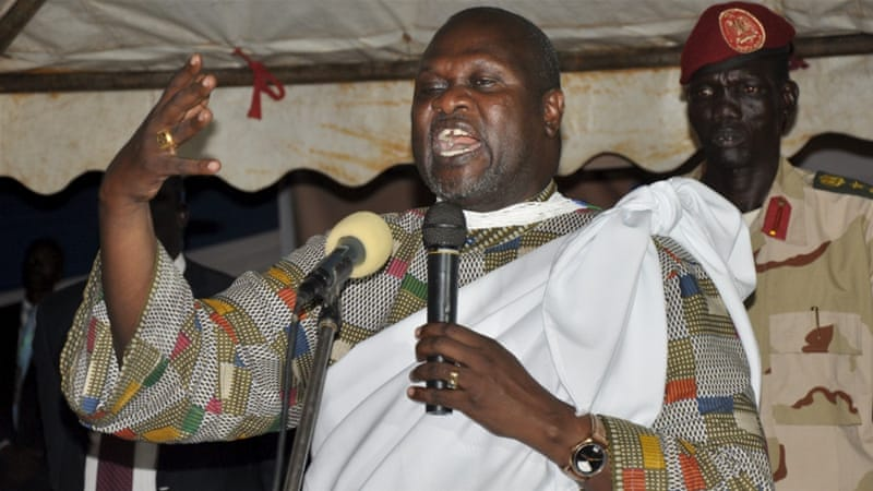 Dr. Riek Machar Teny speaking to supporters during a past conference. Machar has led the SPLM/A(IO) for nearly six years against the Salva Kiir government(Photo credit: file)
