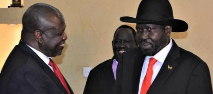 Kiir, Machar meeting in J1 (Photo: /Supplied/Nyamilepedia)