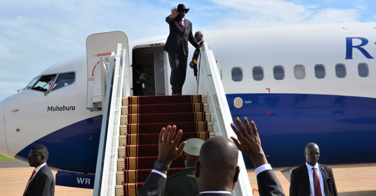 South Sudan President Salva Kiir boards plane as he is seen off by First Vice President Taban Deng Gai at Juba International Airport (File/Supplied/Nyamilepedia)