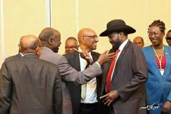 Dr. Lam Akol meeting Salva Kiir in Addis Ababa, months after fleeing Juba, South Sudan(Photo credit: file)