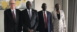 Leaders of SPLM/SPLA(IO) meeting British Ambassador to South Sudan. From left to right: British Ambassador to South Sudan Christopher Trott, SPLM-IO leader Dr. Riek Machar Teny, deputy SPLM-IO leader Hendry Odwar and SPLM-IO chairperson of security and defense Angelina Teny (Photo credit: supplied)