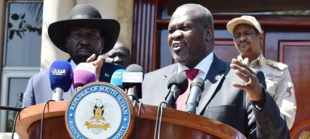 Photo: President Salva Kiir and SPLM-IO leader Dr. Riek Machar speak to reporters after their meeting in Juba on December 17, 2019 | Credit: Eye Radio