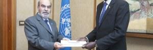 FAO Director-General José Graziano da Silva receiving Credentials from Ajing Adiang Marik, Ambassador of South Sudan to Italy in 2015(Photo credit: FAO/Giulio Napolitano).
