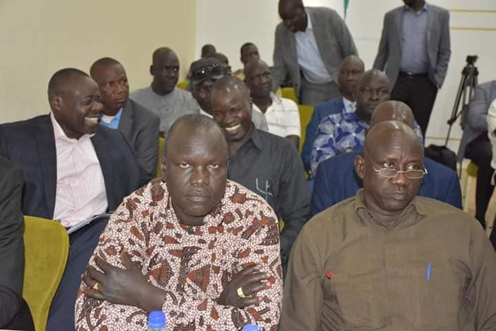 Members of the SPLM/A(IO) political bureau and NLC, listening to a briefing by Dr. Machar in Pyramid Hotel, December 11, 2019(Photo credit: supplied/Nyamilepedia)