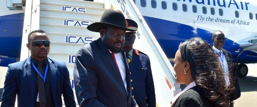 Photo: President Kiir arriving at Bole International Airport in Addis Ababa