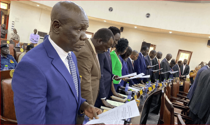 South Sudan's new cabinet ministers taking oath of office in the capital, Juba, on Monday, March 16, 2020(Photo credit: SSNN)