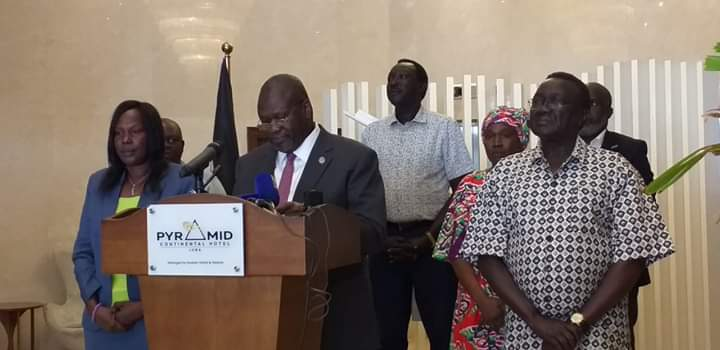 Photo: South Sudan First Vice-President and Chairman of Coronavirus Taskforce Dr. Riek Machar addressing a press conference at Juba Pyramid Hotel in Juba | Credit | Eye Radio