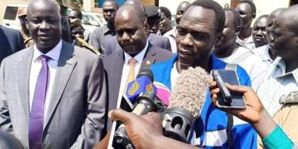 James Gatdek Dak, Machar's former spokesman speaks to media after his release in January 2019(Photo credit: supplied)