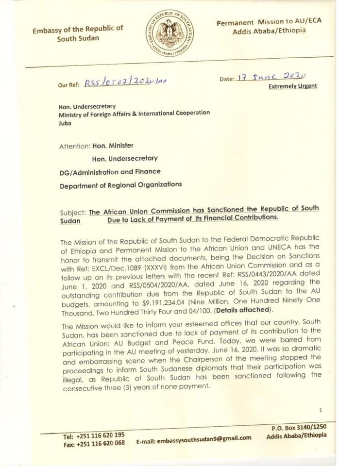 Letter of the South Sudan mission to the African Union to the ministry of Foreign Affairs in Juba (File: Obtained by South Sudan Now)