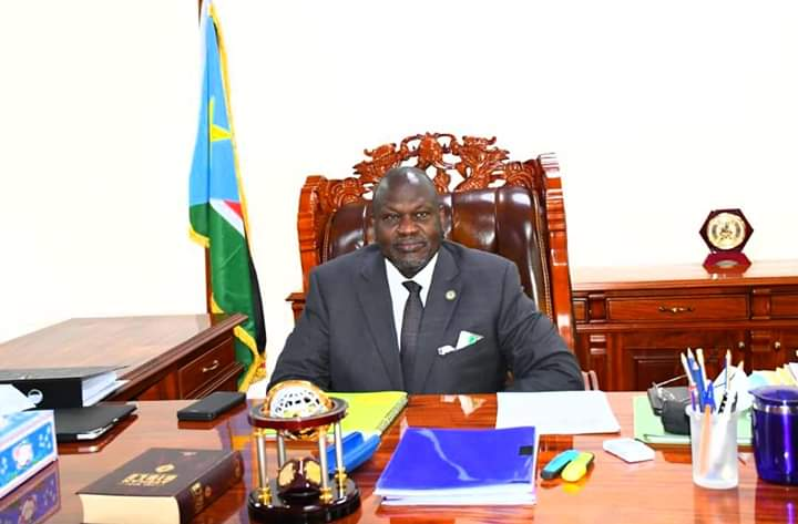 First vice president Dr. Riek Machar Teny in his office this morning (Photo credit: FVPO)