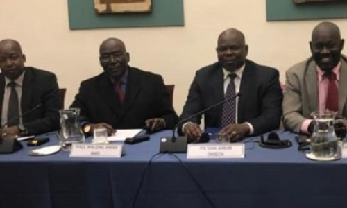 Leaders of South Sudan Opposition movements Alliance (SSOMA) in Rome during talks with the government (Photo credit: Supplied)