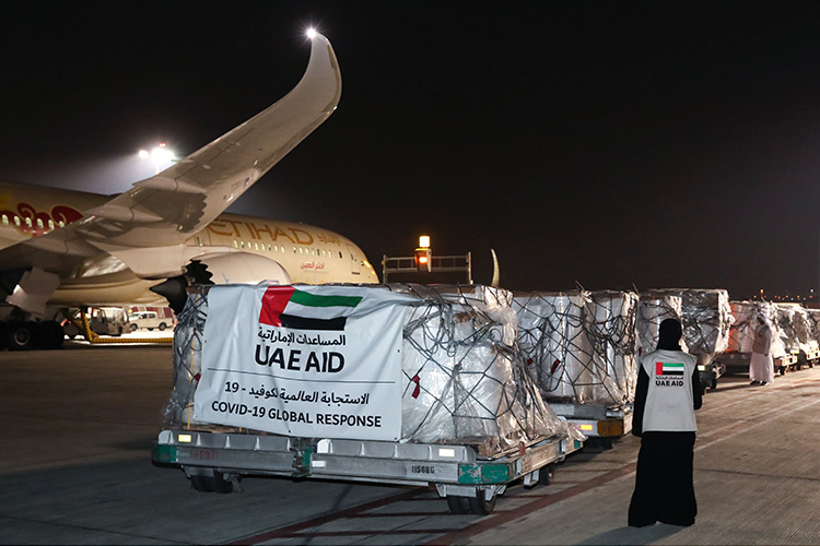 Plane carrying aid at Dubai Airport (Photo credit: Gulf Today)