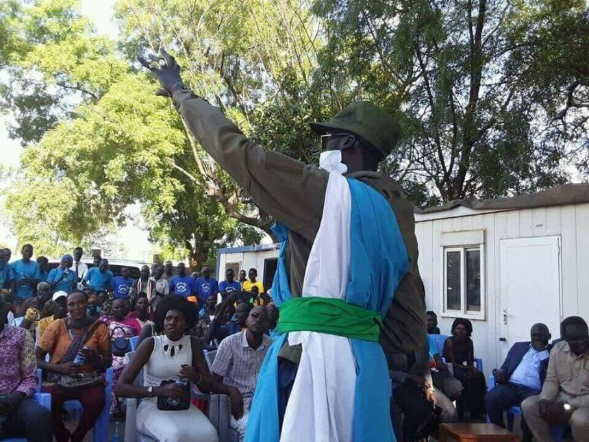 Cde. Mabior Garang de Mabior addressing masses in Juba during his recent visit to South Sudan capital, Juba(Photo credit: Nyamilepedia)