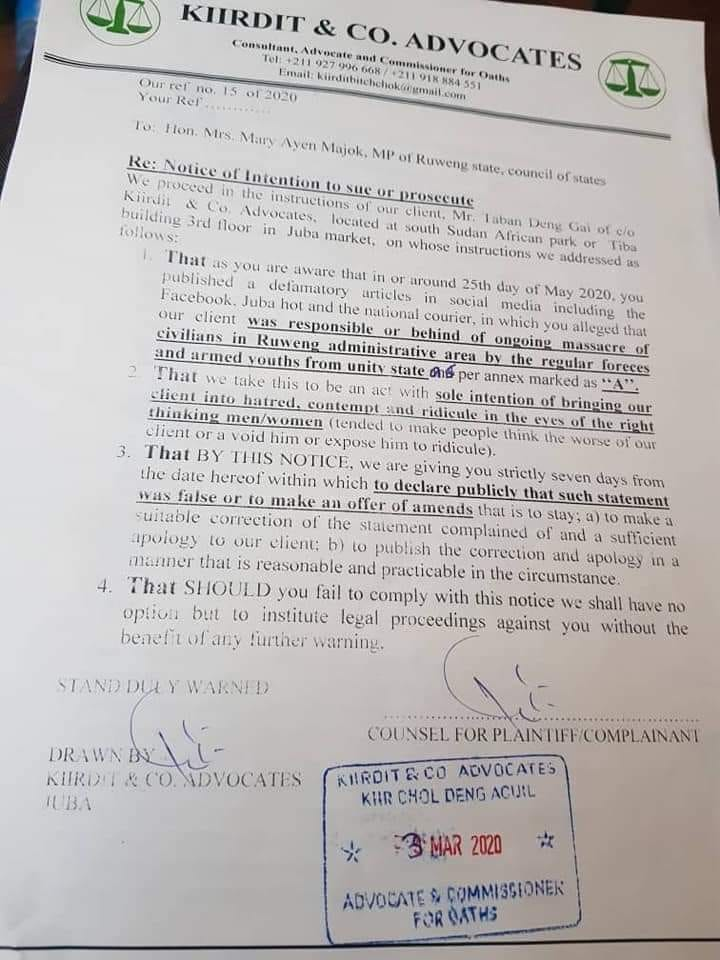 Letter of Taban Deng's lawyers against MP Mary Ayen Majok of RAA (Credit: Obtained by Nyamilepedia)