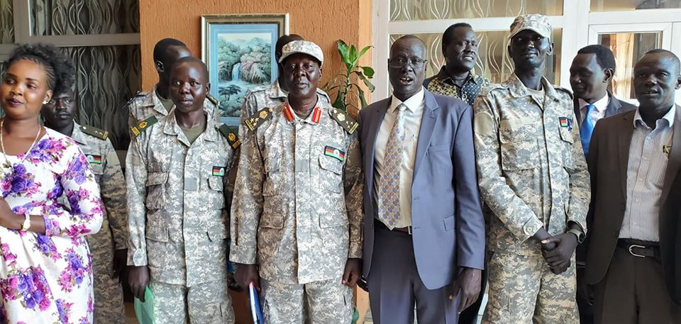 Members of SPLA-IO who defected to Salva Kiir's SSPDF this afternoon (Photo credit: Supplied)