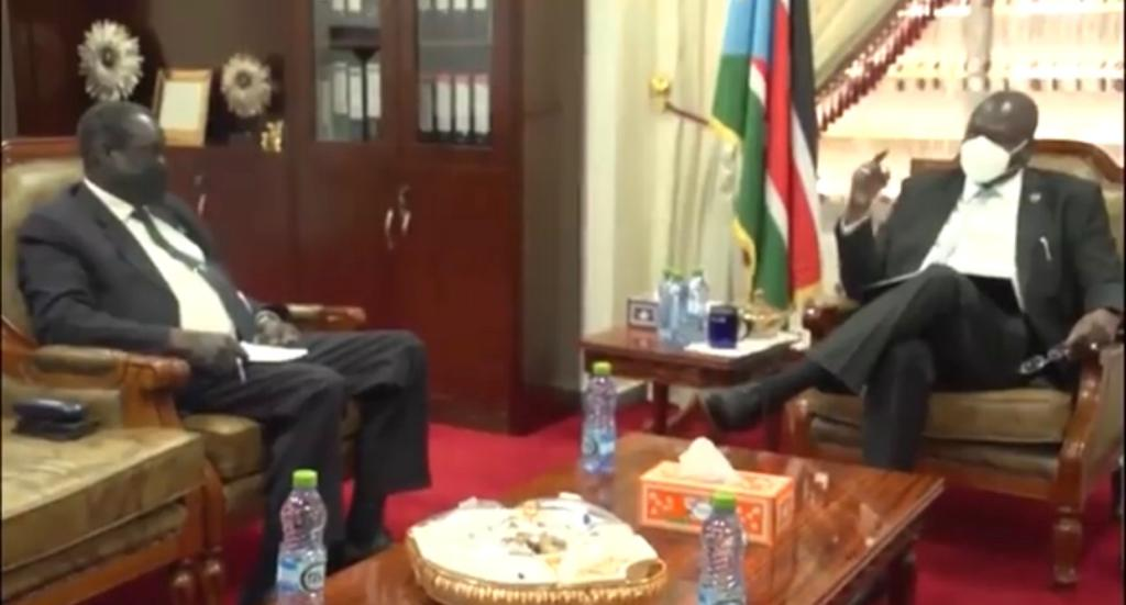 South Sudan finance minister Salvatore Garang (left) meeting the country's First Vice President Dr. Riek Machar Teny on implementation of security reform (Photo credit: SSBC)